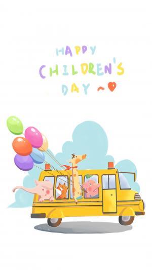 儿童节海报手绘图片可爱小清新