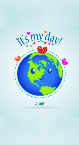 世界地球日创意手抄报插画高清手机壁纸