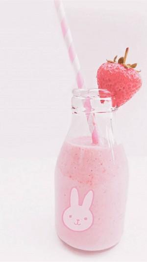 夏天粉色饮品小清新治愈系手机壁纸