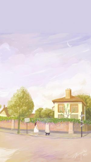 简约小清新唯美风景手绘插画手机壁纸