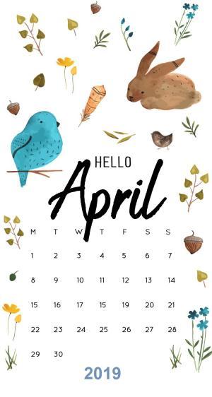 2019年4月日历清新可爱桌面壁纸