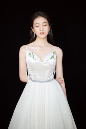 张雪迎深v吊带裙优雅性感写真图片