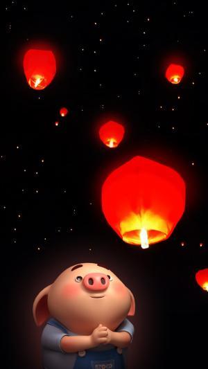 元宵节福猪放孔明灯图片