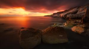 海边太阳落山美丽的风景4k壁纸