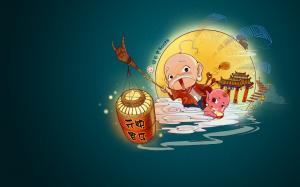 欢度元宵节可爱手绘卡通图片