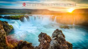 2018年12月冰岛瀑布自然风光日历壁纸