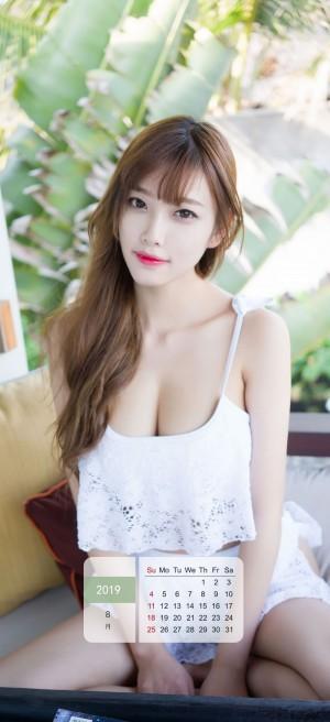 2019年8月性感美女小甜心杨晨晨写真日历壁纸